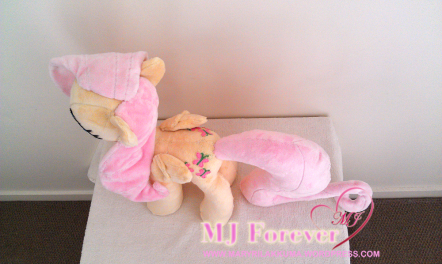 Fluttershy plushie by ME!!!!! :D (my very first plushie!)
