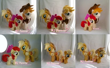 Apple family group pic, all plushies are sewn by me!