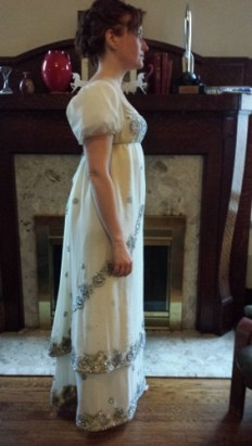 The sleeves are stiffened with scraps from my wedding veil.