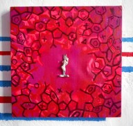 canvas, 40x40cm, acryl, kreidespray, acrylic spray, rabbit