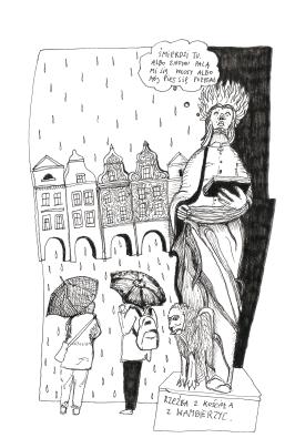 weird sculpture and german tourist in rain