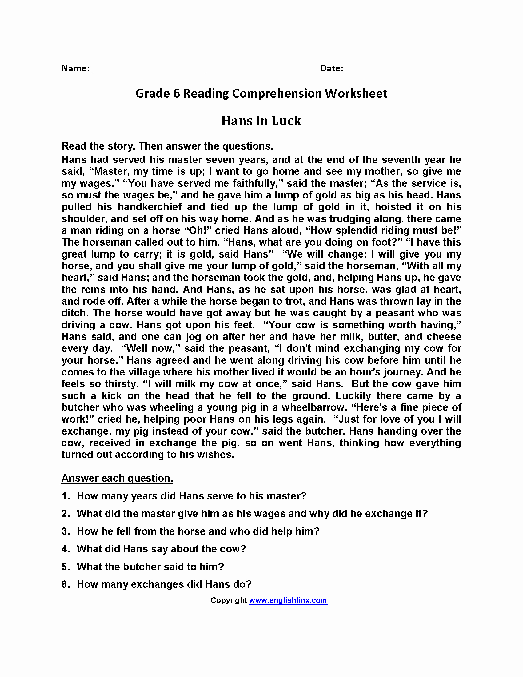 Free Printable 6th Grade Reading Worksheets
