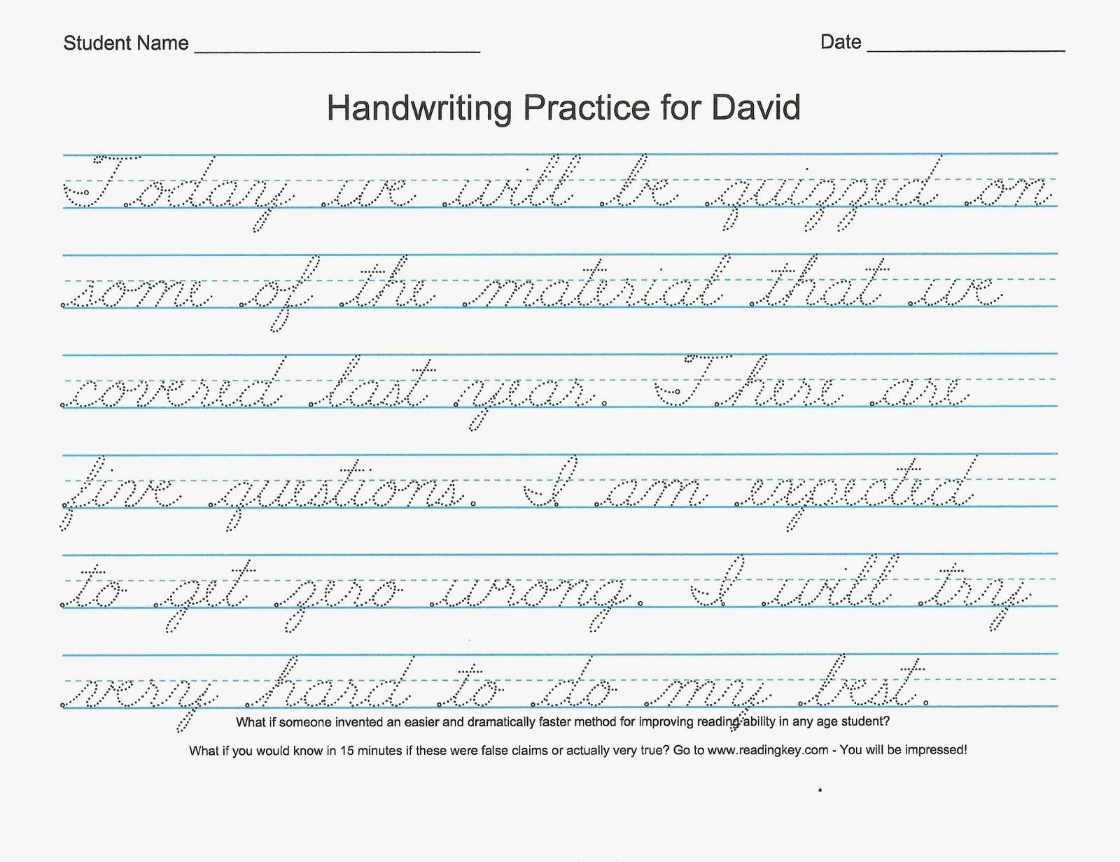 Cursive Handwriting Practice Paper