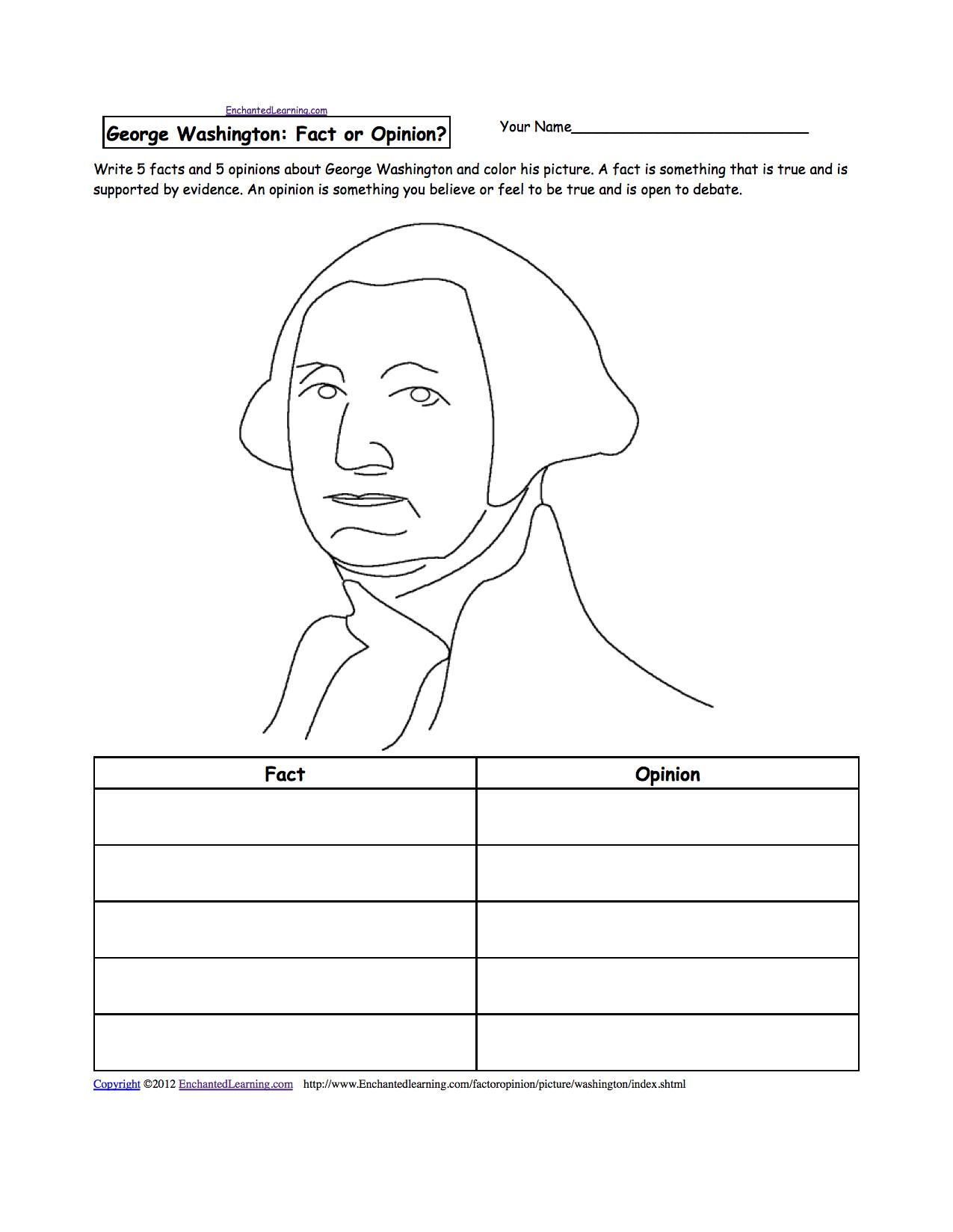 George Washington Printable Worksheets