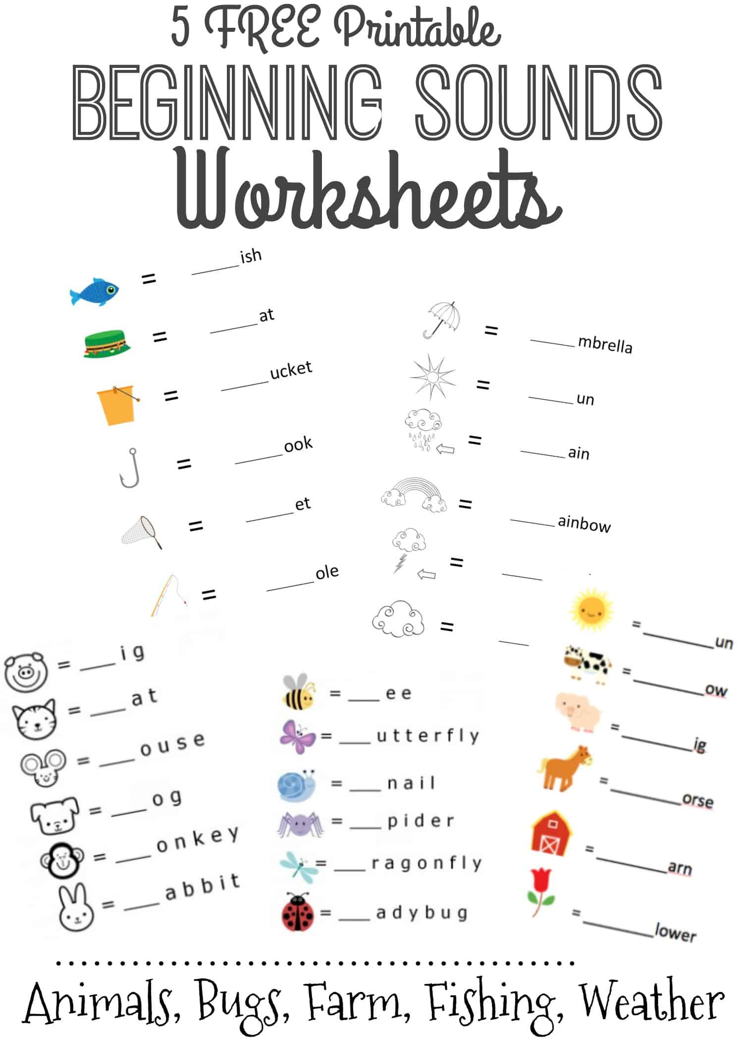Beginning Sound Worksheets Kindergarten Worksheets Initial