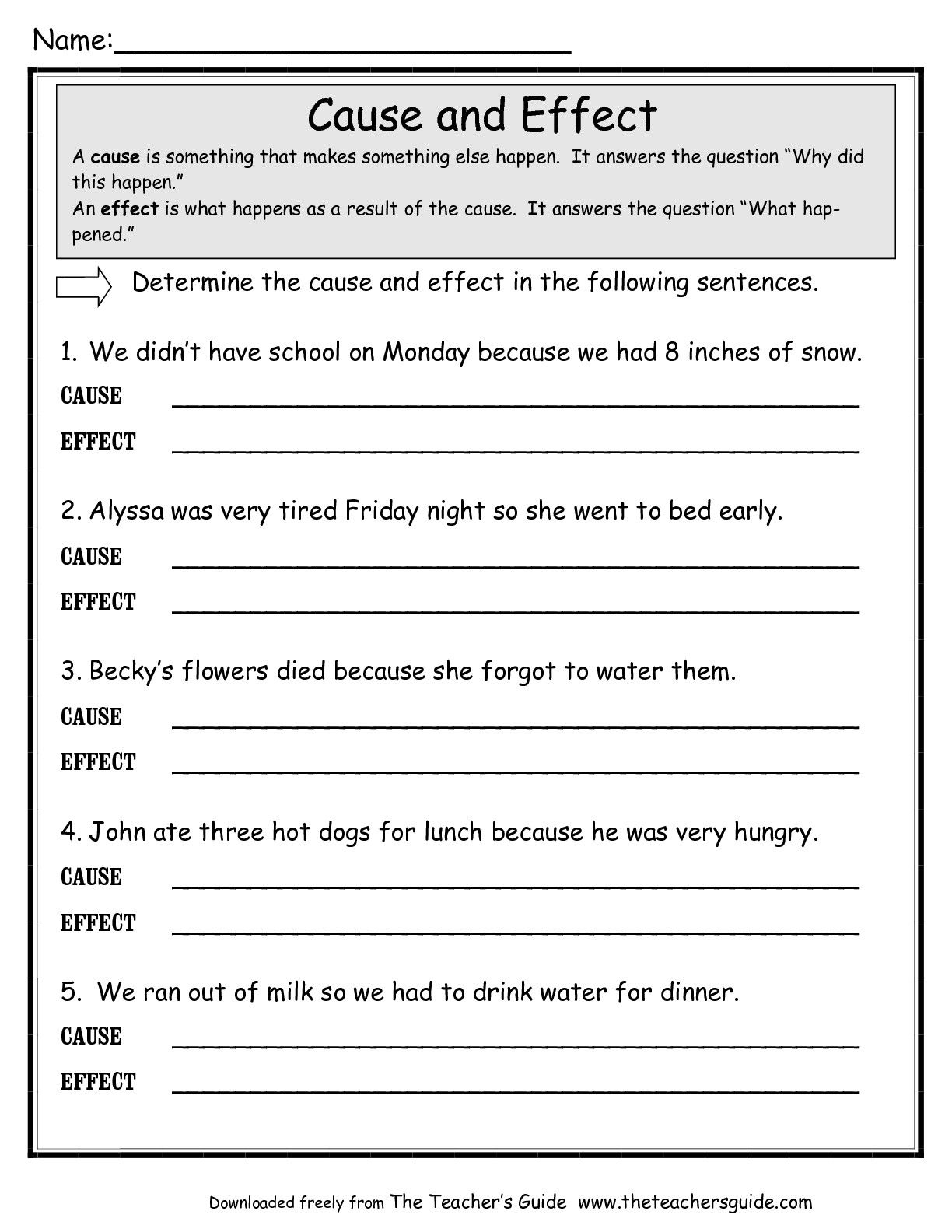 Free Printable Cause And Effect Worksheets For Third Grade
