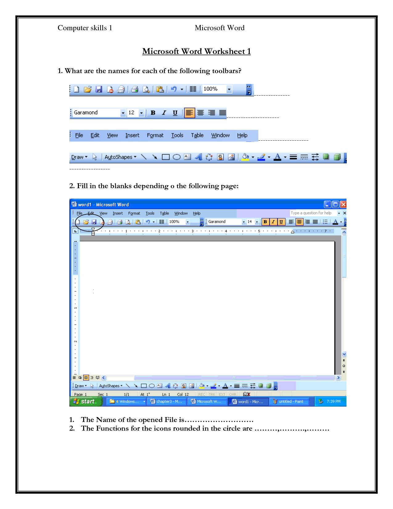Parts Of A Computer Worksheet Printable