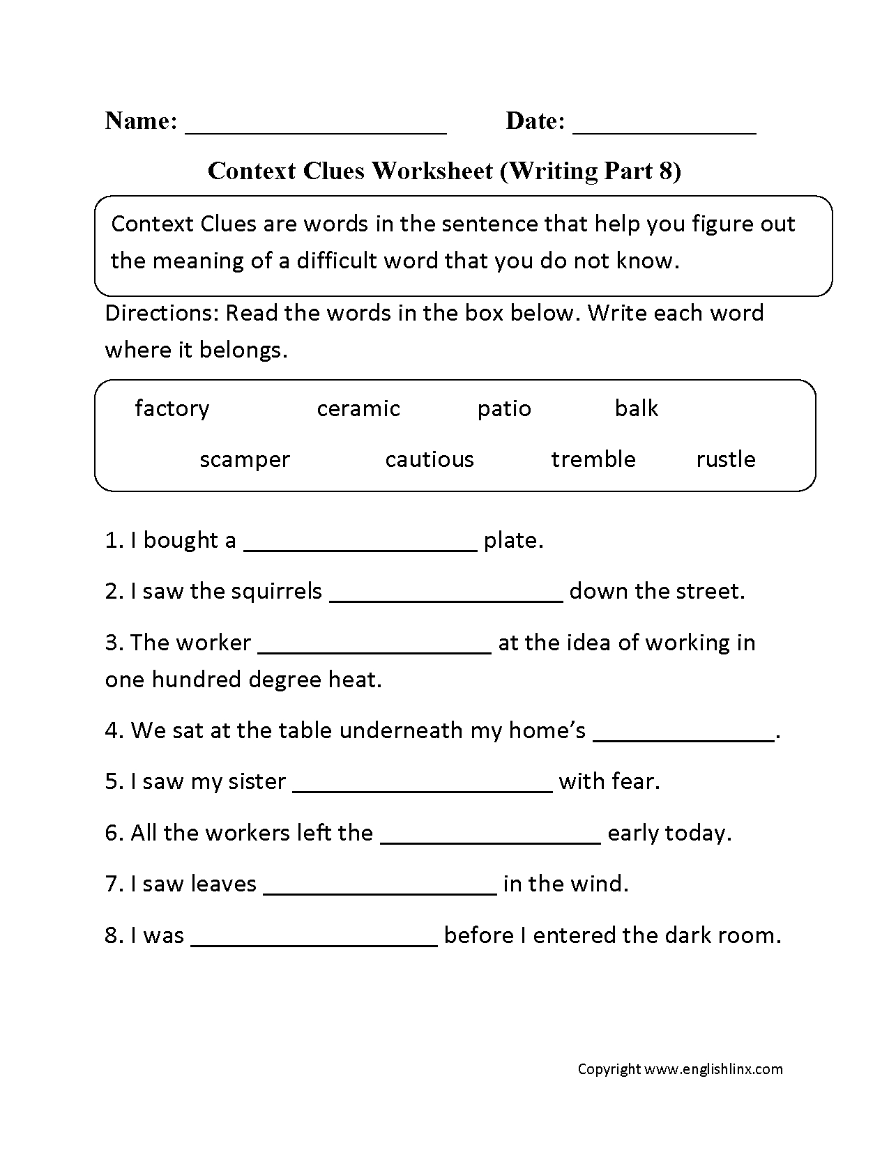 Practicing With Context Clues Worksheet