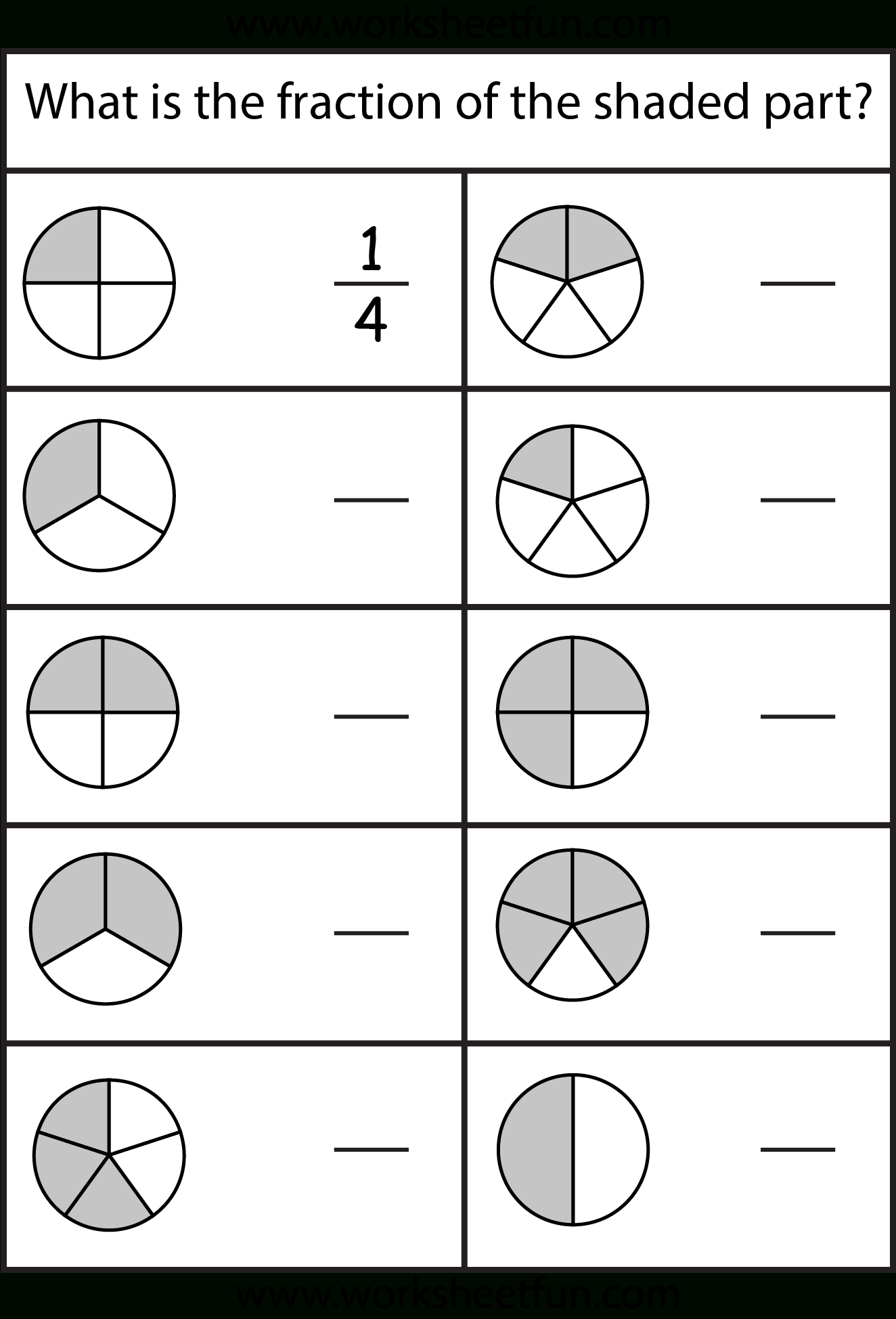 Free Printable First Grade Fraction Worksheets