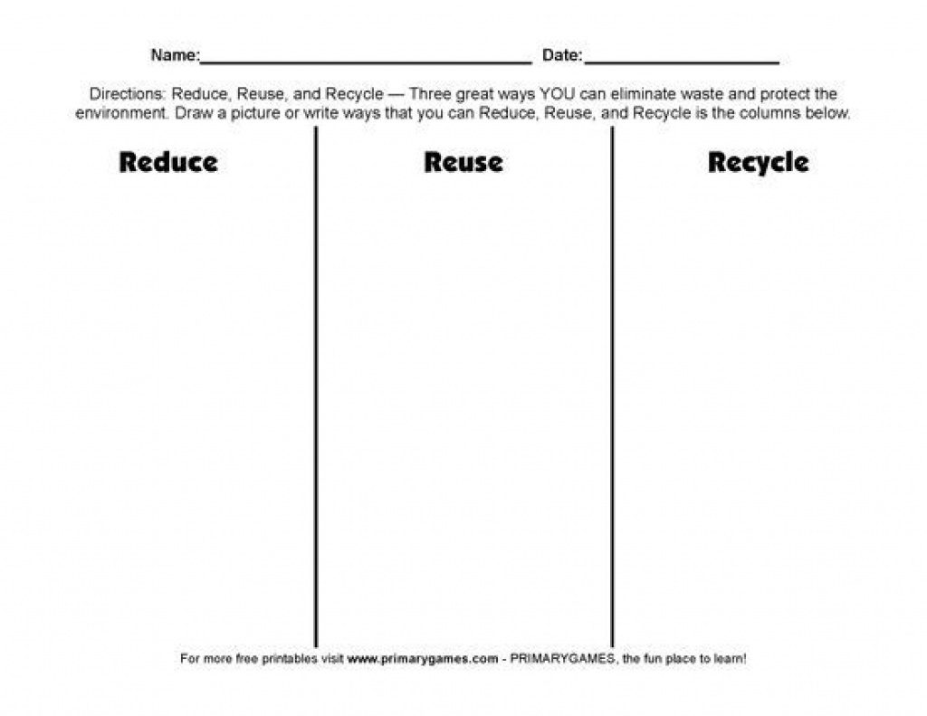 Free Earth Day Worksheets Reduce Reuse Recycle