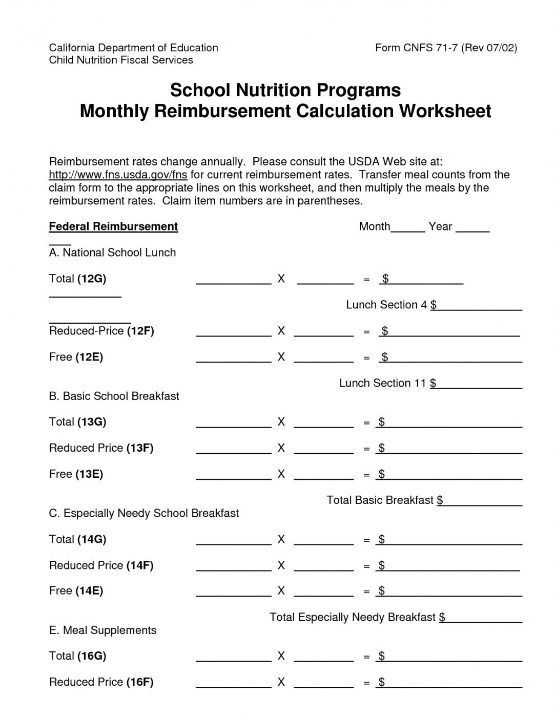 Free Printable Nutrition Worksheets