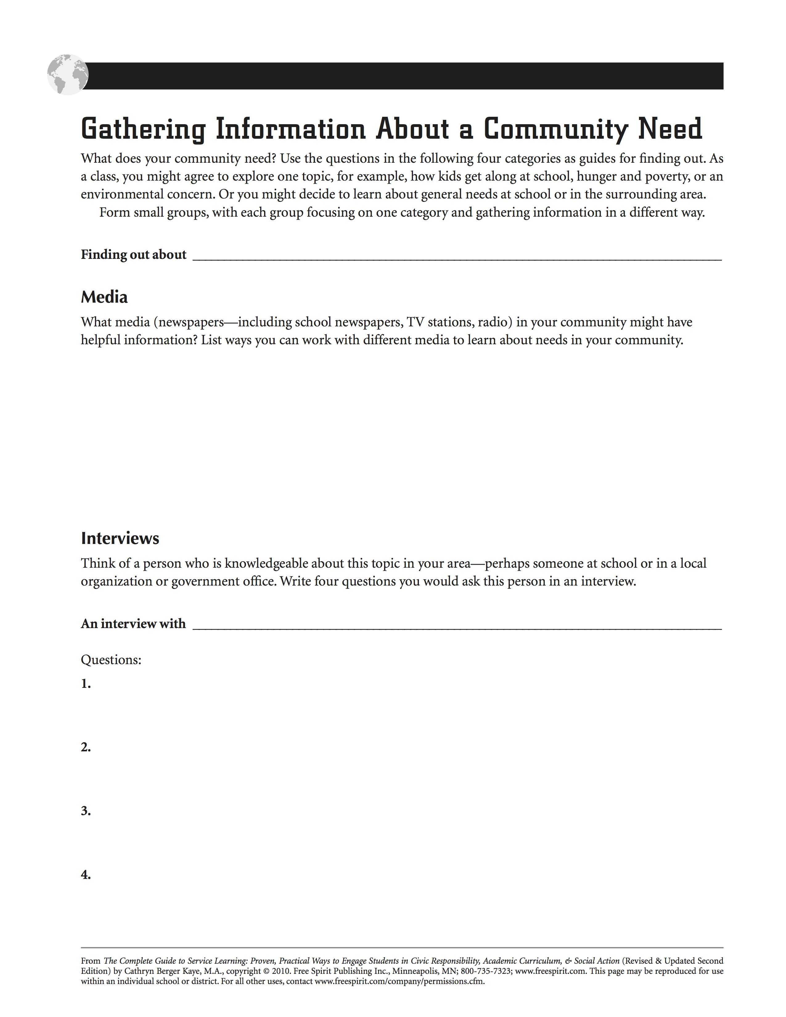 Community Service Printable Worksheets