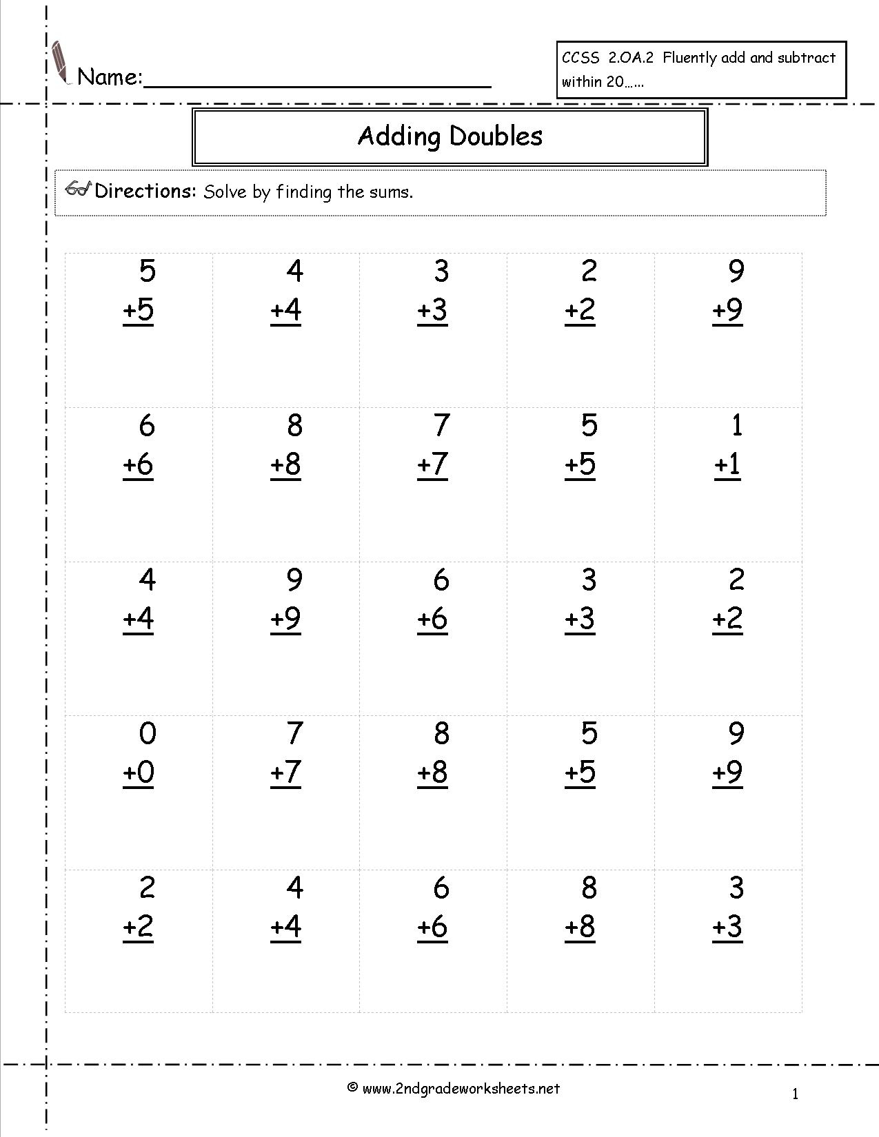 Addition Facts To 20 Printable Worksheets