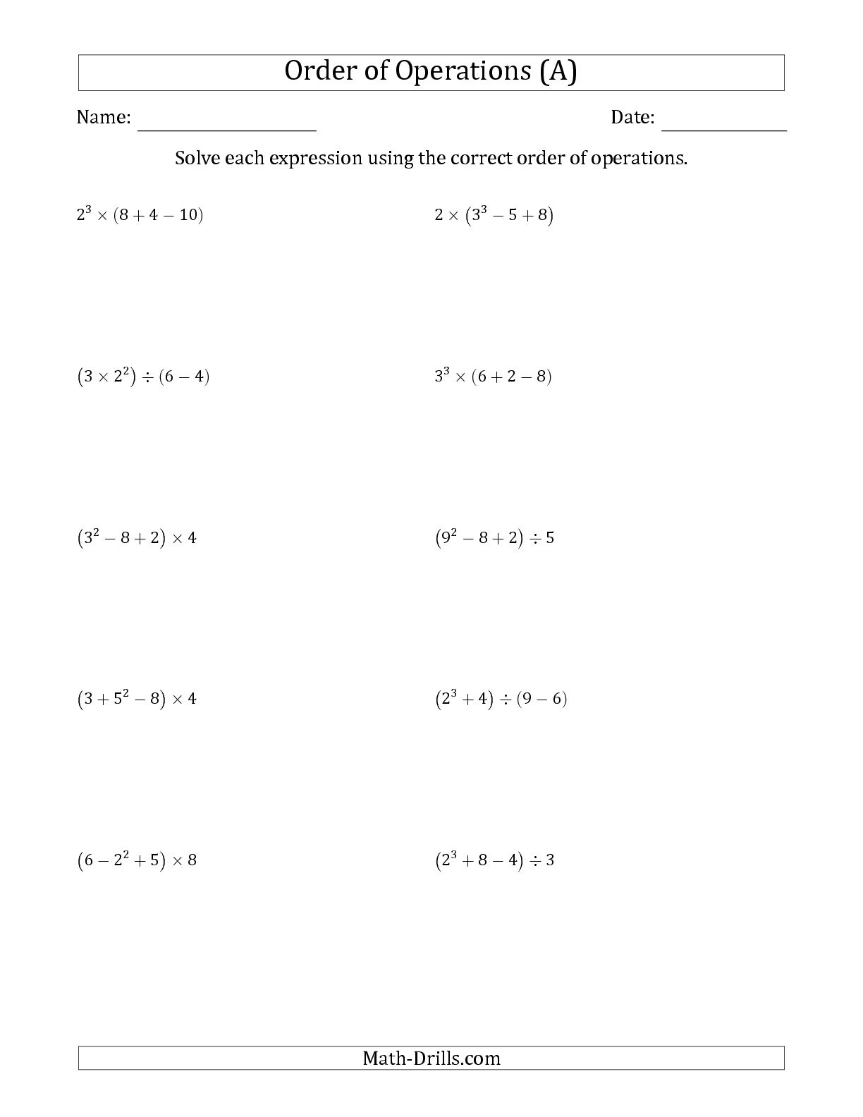 Free Printable Order Of Operations Worksheets 7th Grade