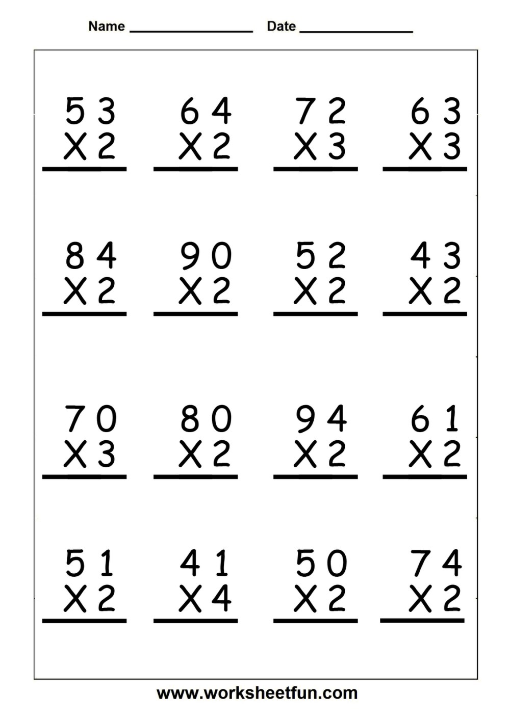medium resolution of 5 Minute Multiplication Worksheets   Printable Worksheets and Activities  for Teachers