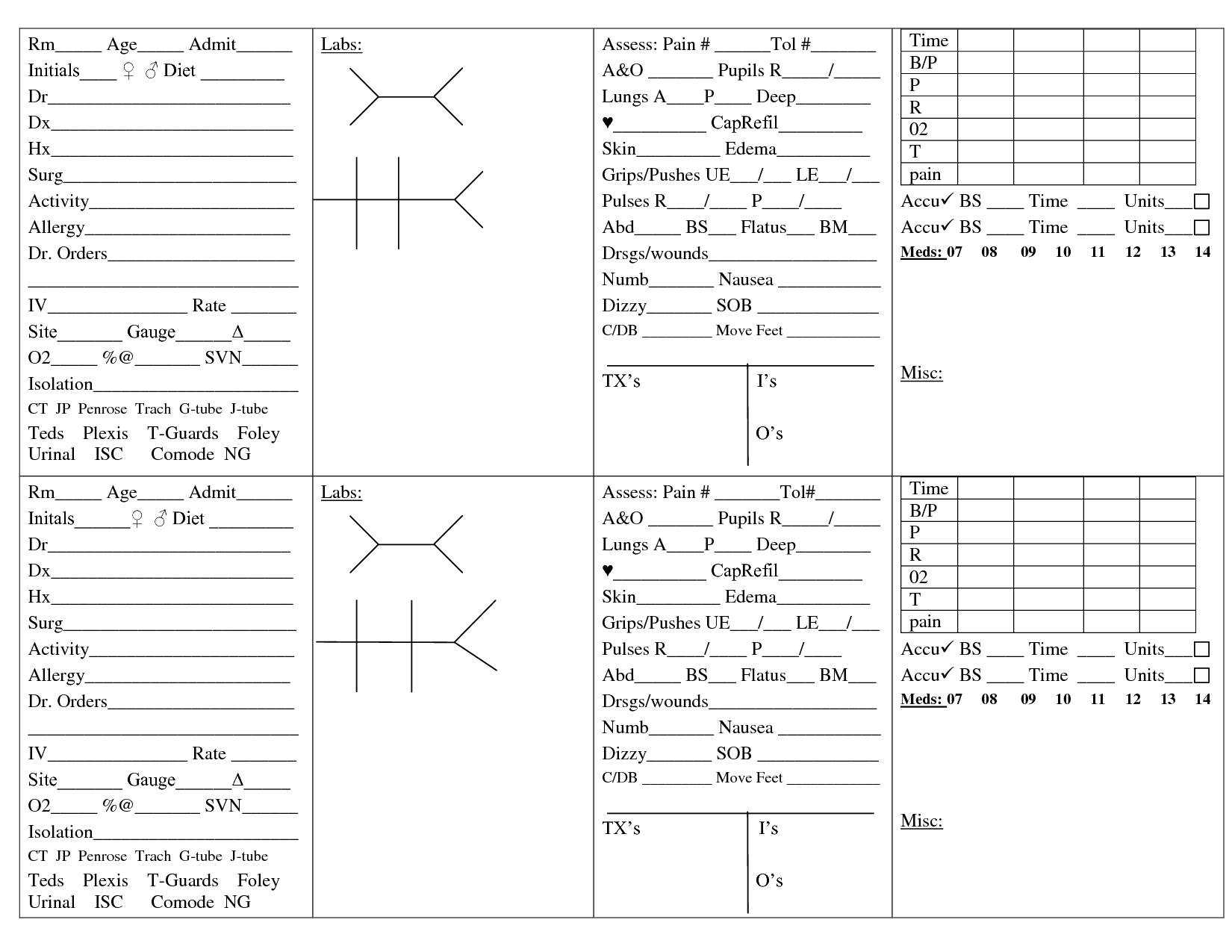 Printable Nursing Worksheets