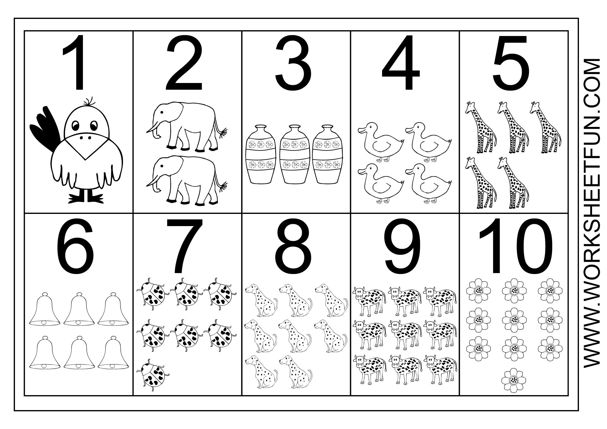 Printable Worksheets For Preschoolers On Numbers 1 10