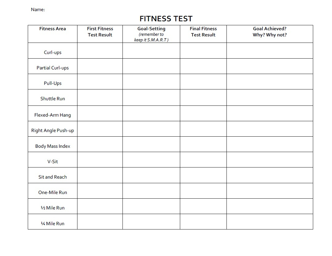 Free Printable Fitness Worksheets