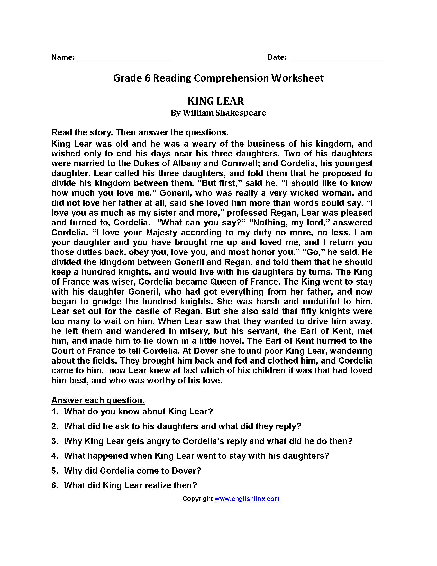 Printable Comprehension Worksheets For Grade 6