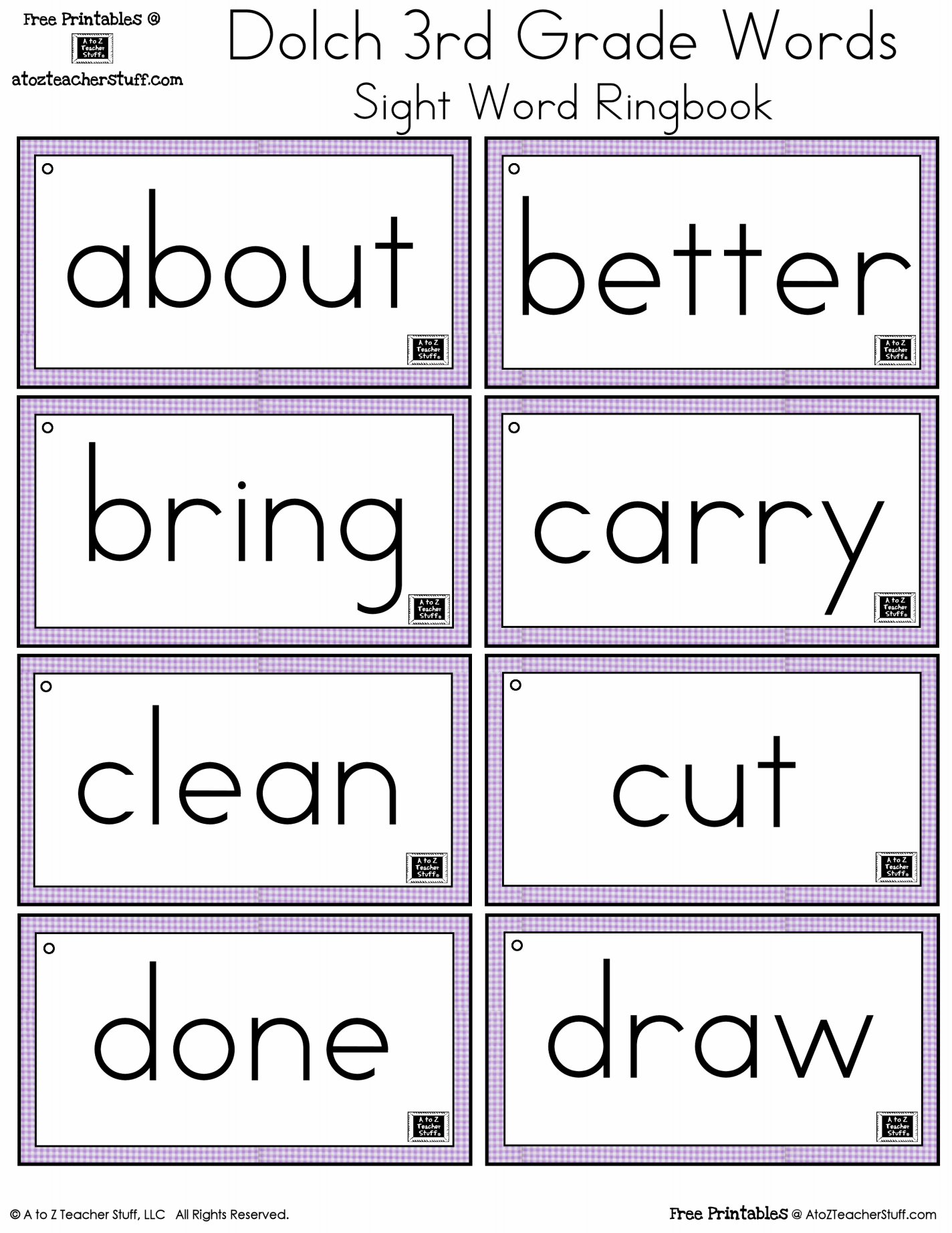 First Grade Sight Words Printable