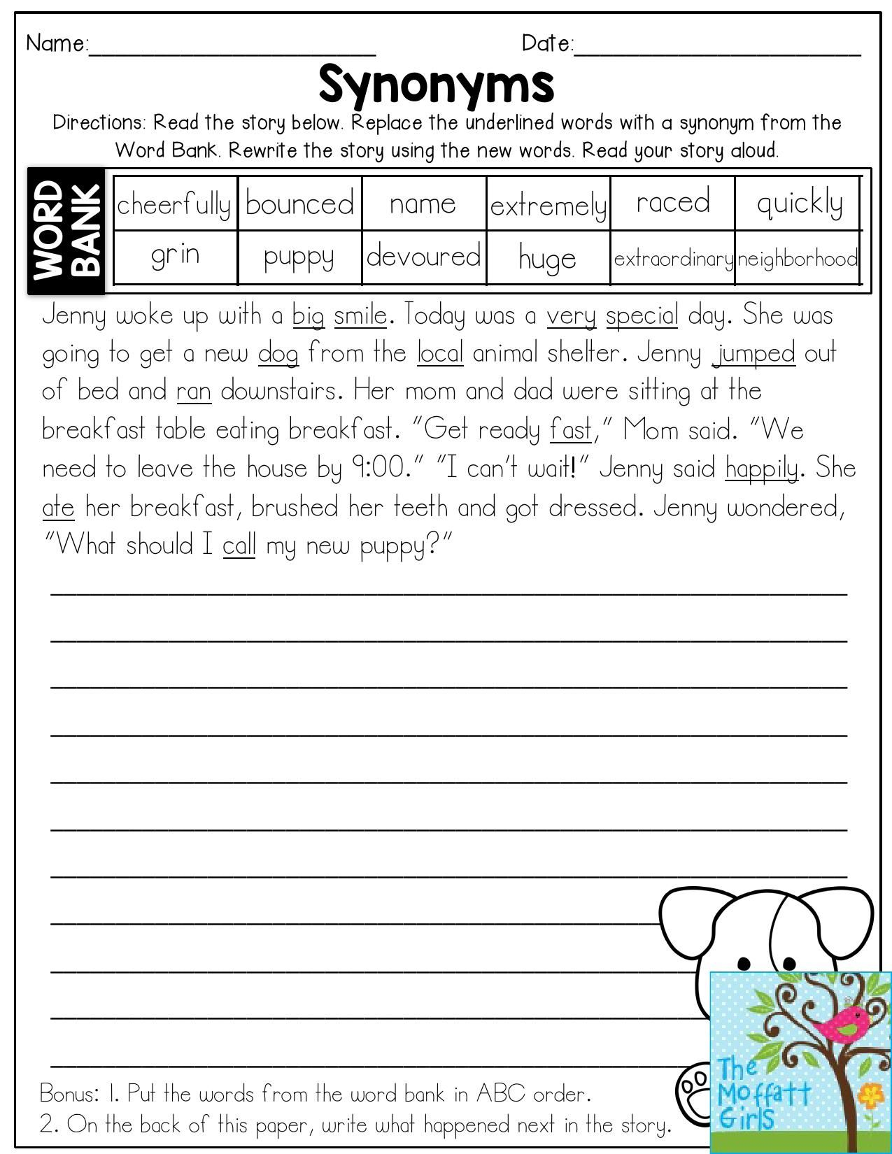 Vocabulary Worksheets