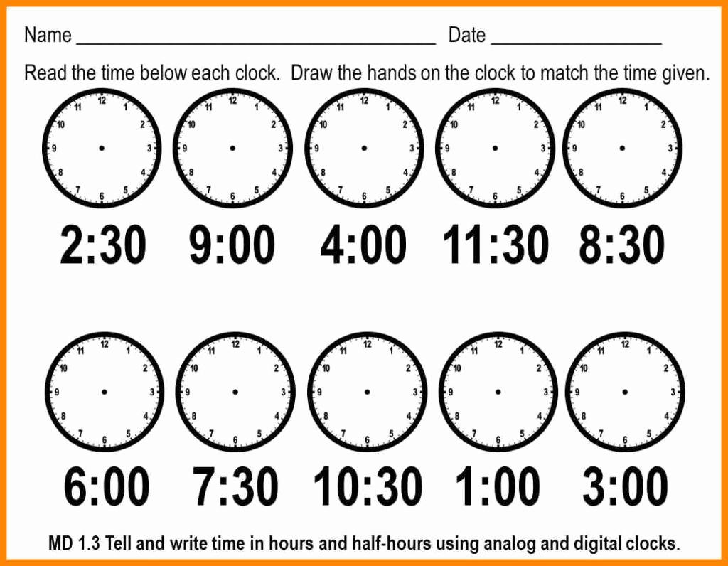 Telling Time Worksheets Printable