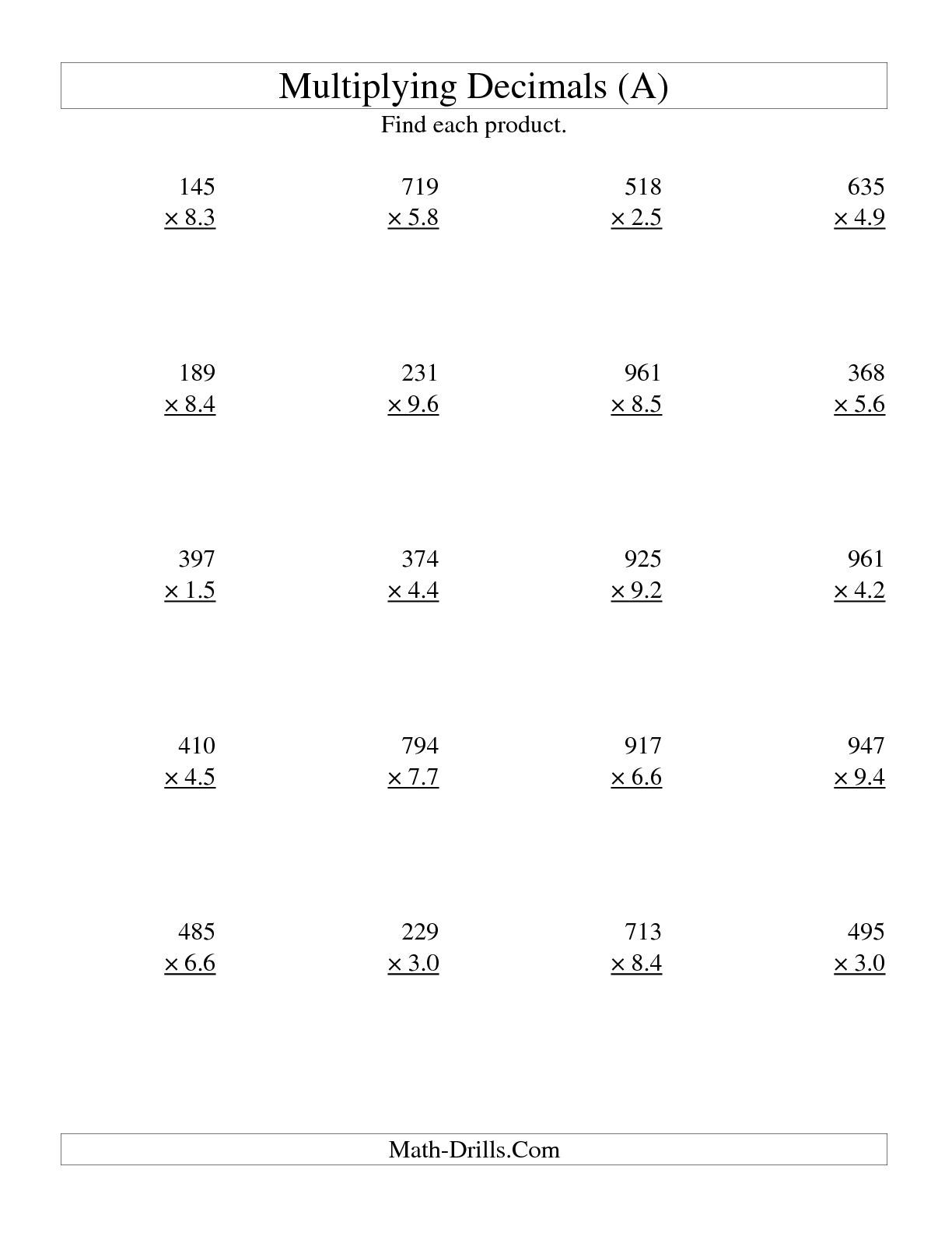 Printable Multiplication Sheets 5th Grade