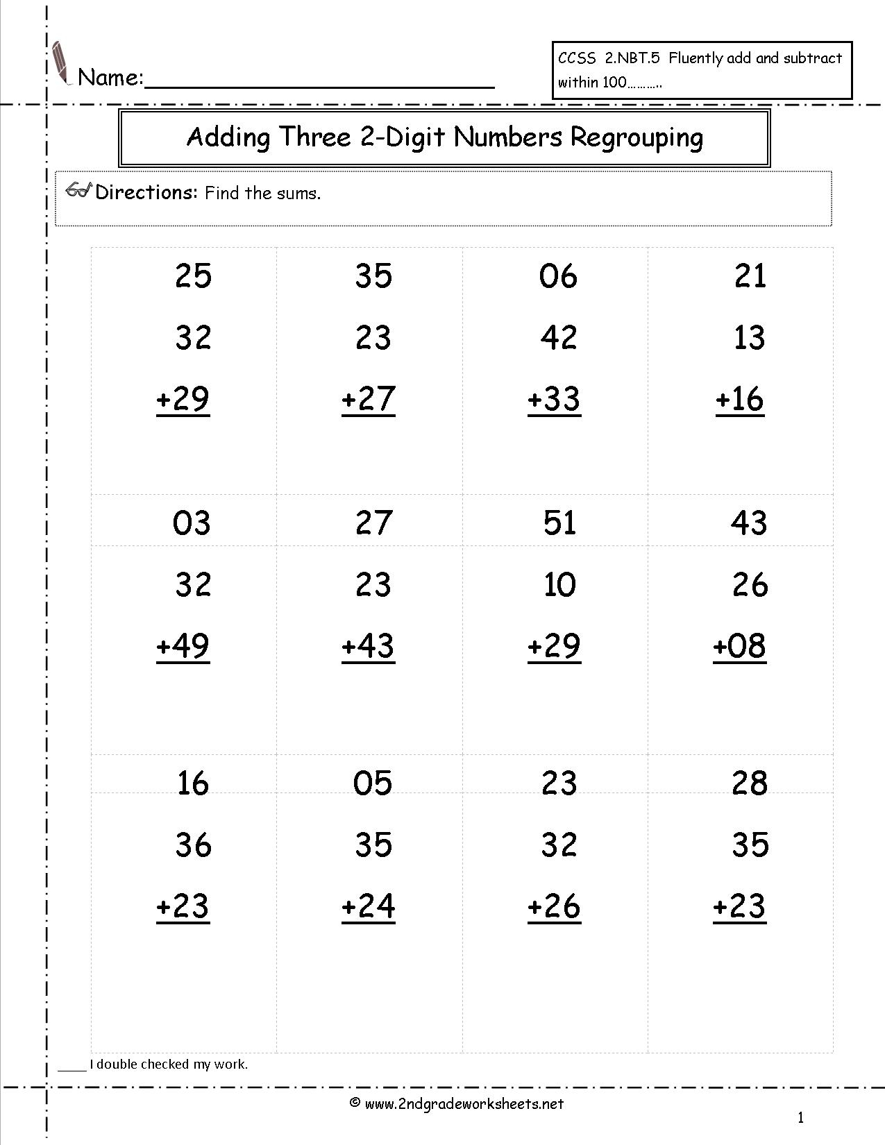 Printable 2 Digit Addition Worksheets