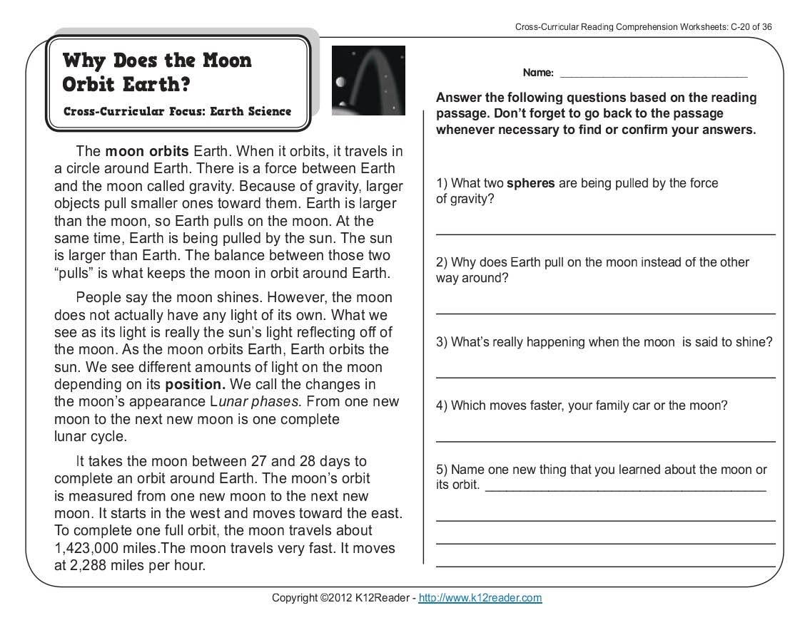 Worksheet Kids Science Comprehension Worksheets Reading