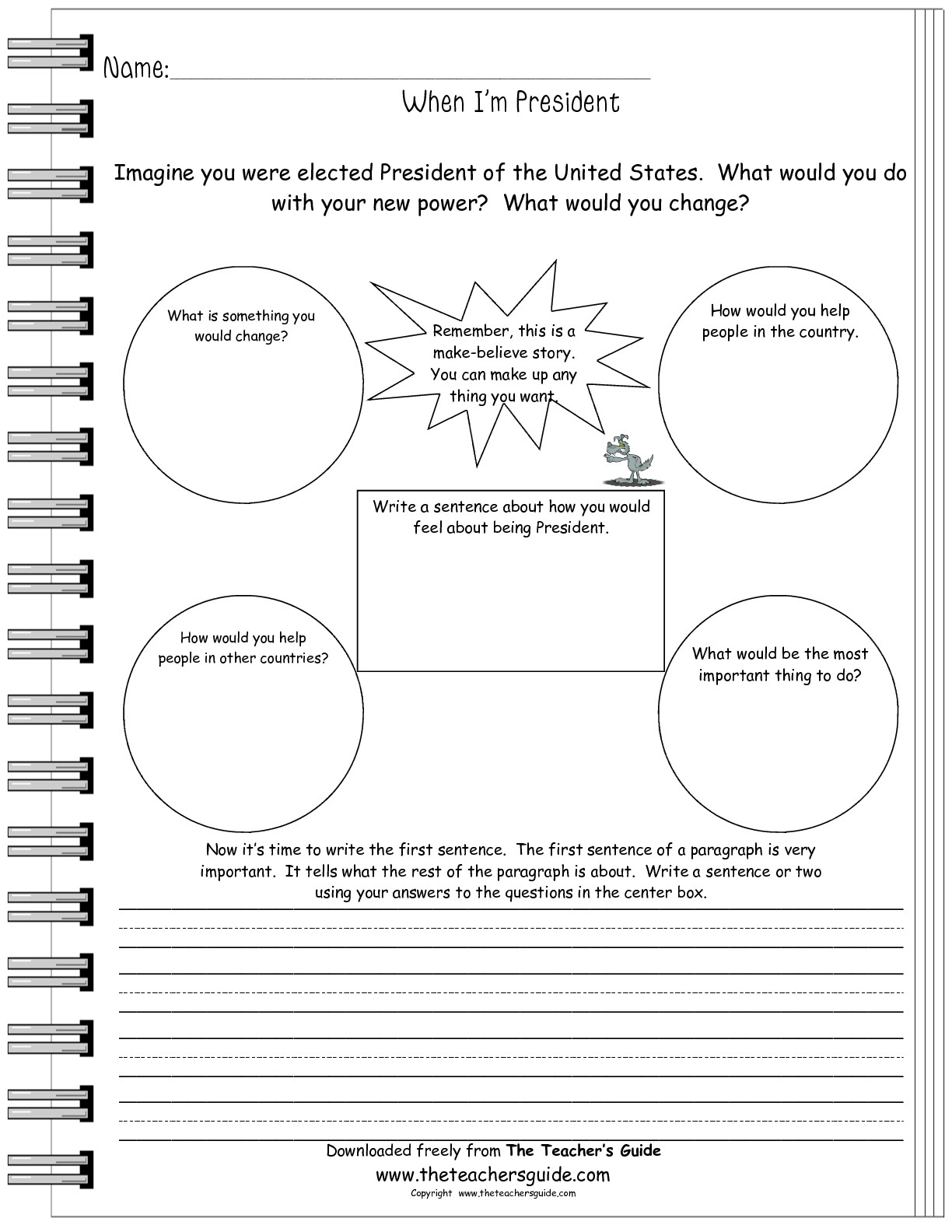 If I Were President Printable Worksheet