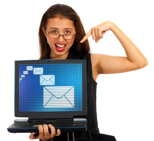 Email Envelopes On Screen Showing Emailing Or Contacting