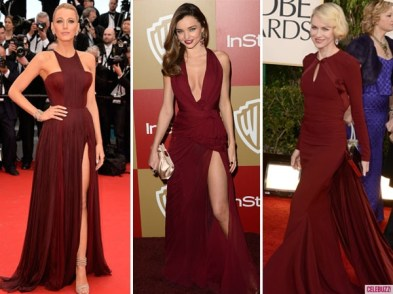 Da sinistra: Blake Lively, Miranda Kerr e Naomi Watts. Fonte: http://www.celebuzz.com/2014-12-04/pantones-2015-color-of-the-year-is-marsala-see-celebs-rocking-the-red-hue/