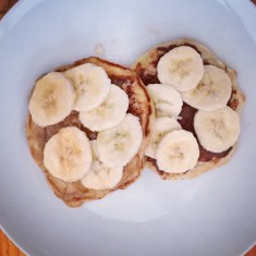 Pancakes! 1) peanut butter, banana, honey. 2) Nutella and banana