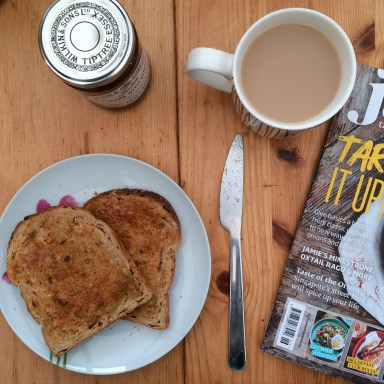 Toast, tea, magazine...the perfect Saturday breakfast