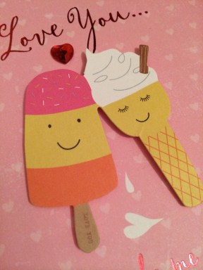 Pete and I don't really do Valentine's, but he bought me a card with ice cream on. It made me smile so much...