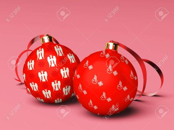Two Christmas Balls are On Isolated Background