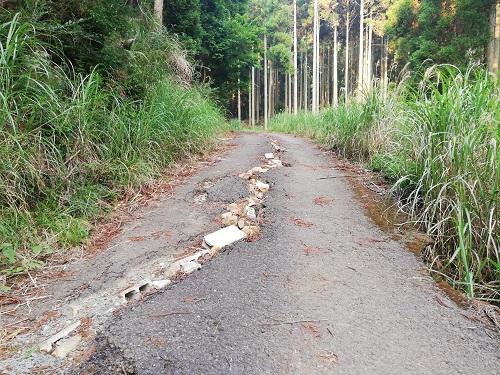 亀裂の入ったアスファルトの道路にブロックや石が埋め込まれている。