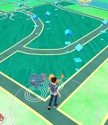 山王公園でポケモンGOフィールド画面