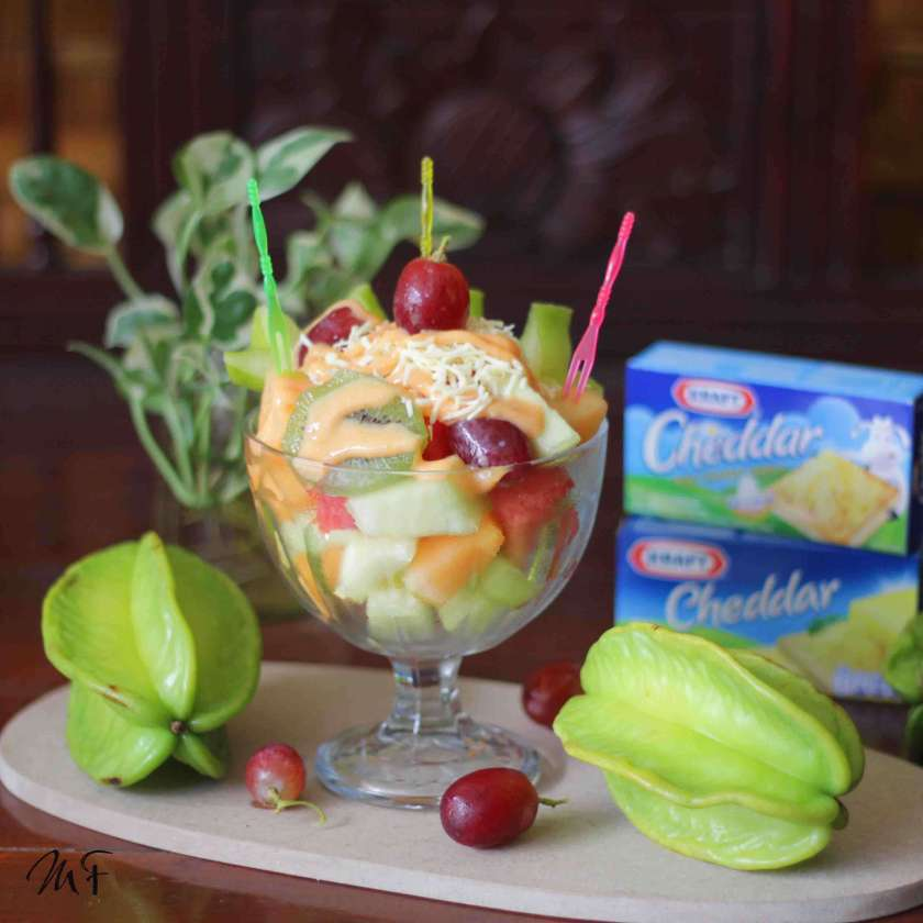 9. Fruit Salad with Kraft Cheese Mayo