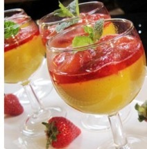 resep puding cara membuat puding saus strawberry
