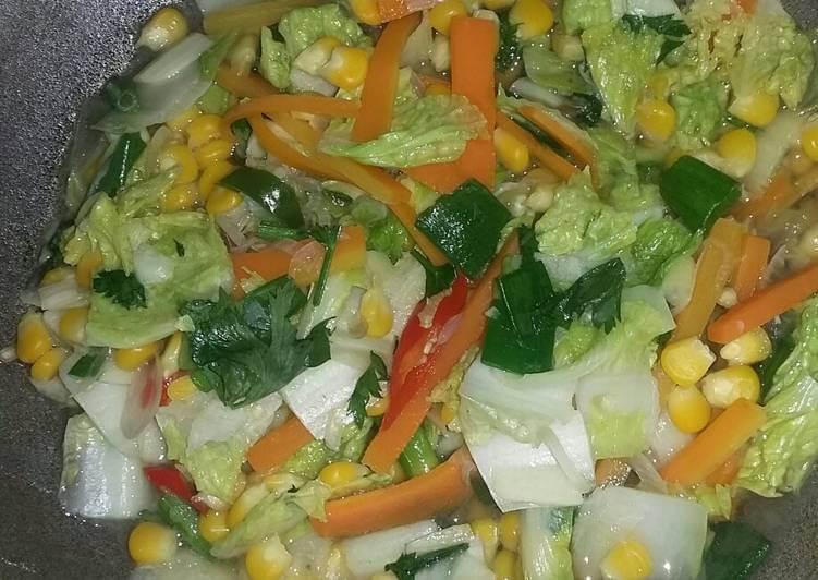tumis sawi putih sehat dengan sayuran