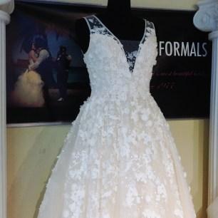 Textured floral lace applique aline gown