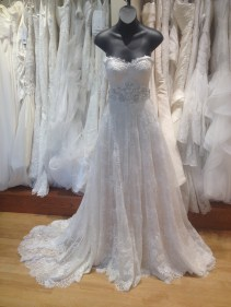 A-line sweetheart lace wedding dress with beaded belt by Justin Alexander
