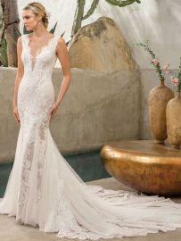2306 Savannah wedding dress lace mermaid low back