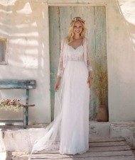 Rembo Styling aline wedding dress with lace bustier and soft tulle skirt