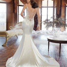 Sophia Tolli 2015 illusion back with covered buttons satin wedding dress