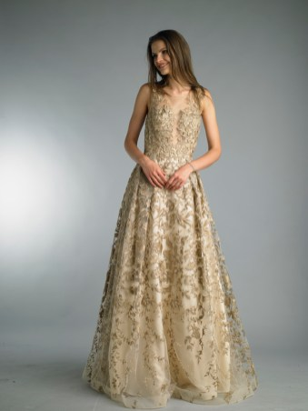 Gold aline lace wedding dress at Masako Formals