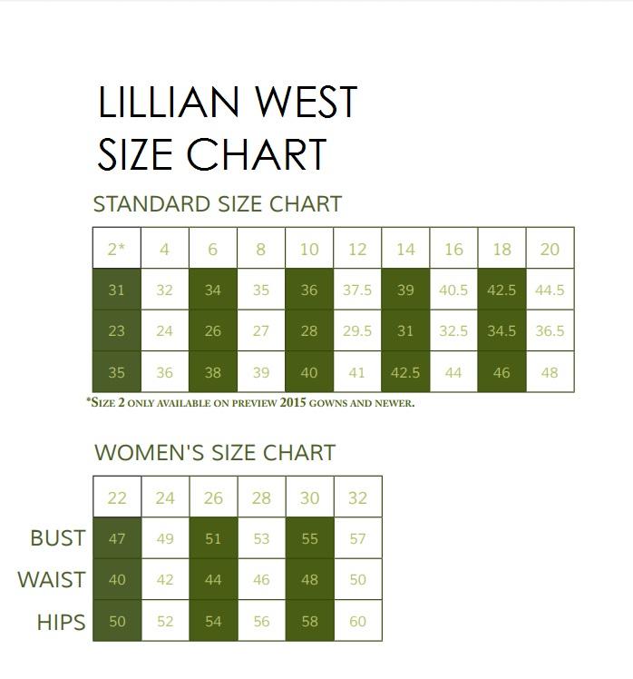 Lillian West Size Chart