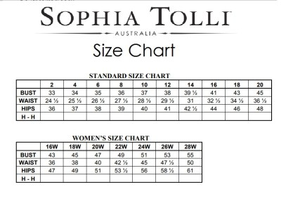 sophia tolli size chart
