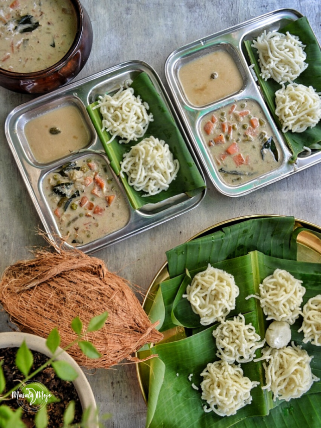 Idiyappam with vegetable stew and sweet coconut milk